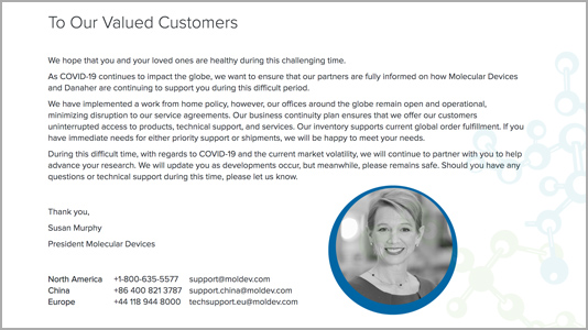 Company Message for COVID-19